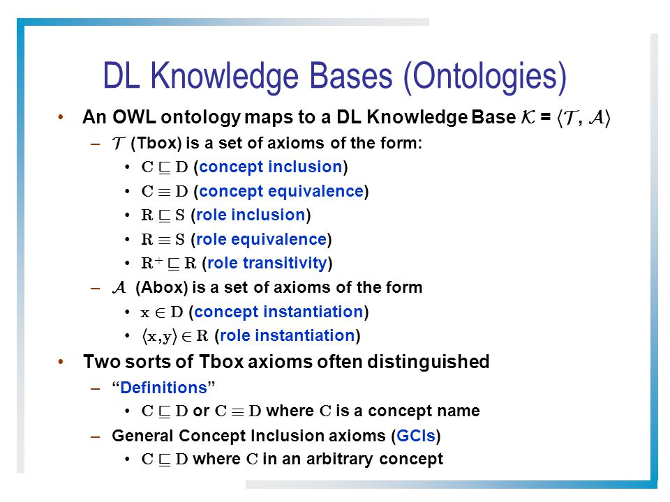 DL Knowledge Bases (Ontologies)