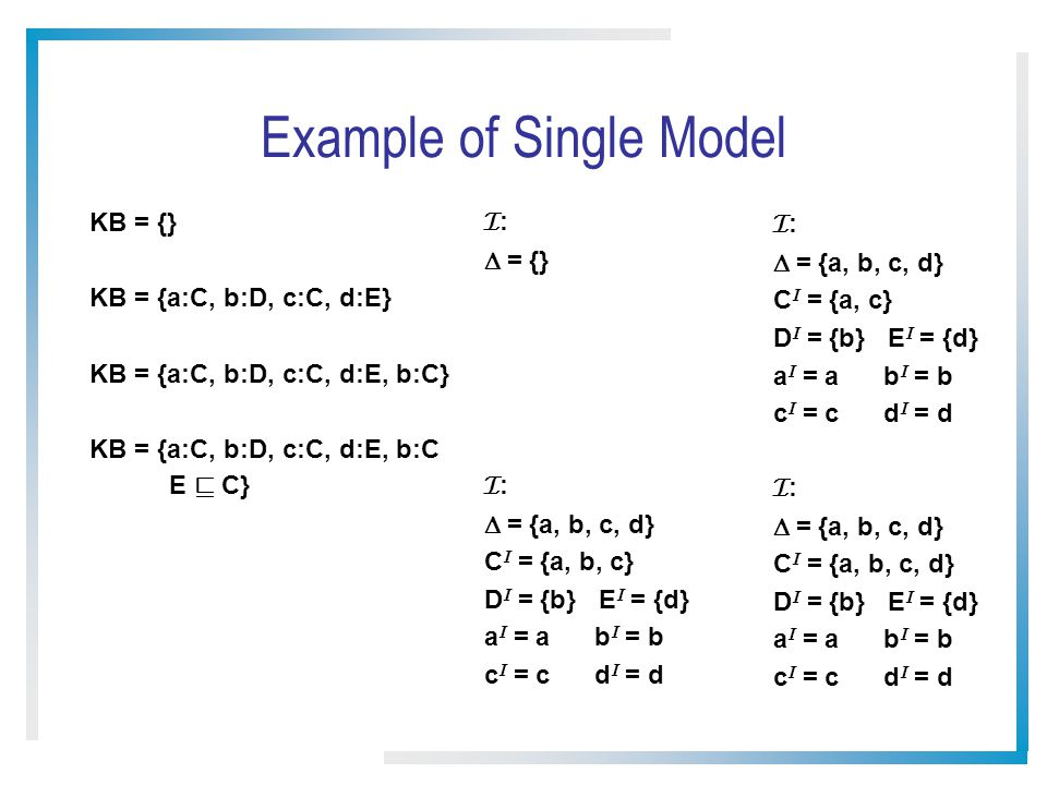 Example of Single Model