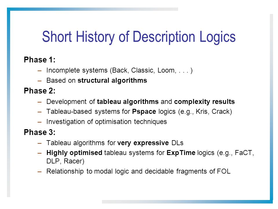 Short History of Description Logics