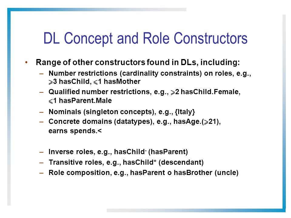 DL Concept and Role Constructors