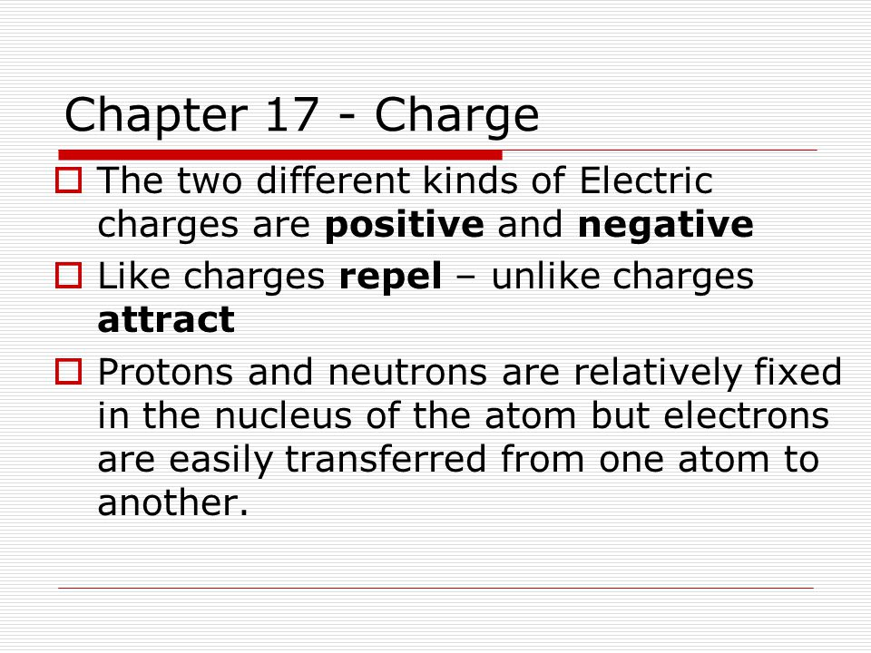 Chapter 17 - Charge The two different kinds of Electric charges are positive and negative. Like charges repel – unlike charges attract.