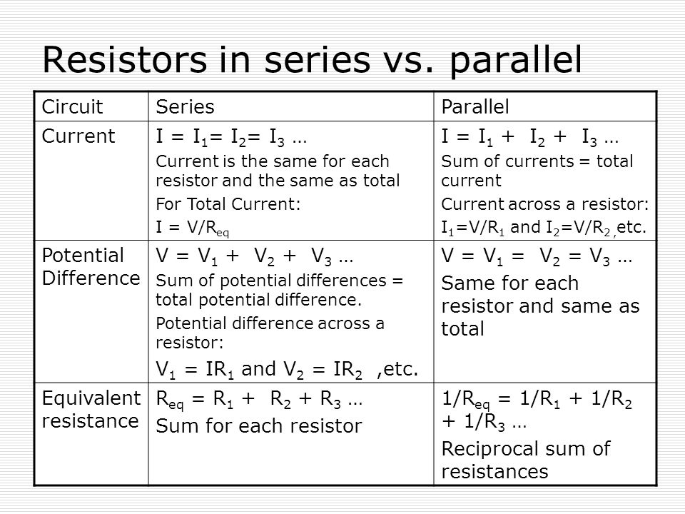 Resistors in series vs. parallel