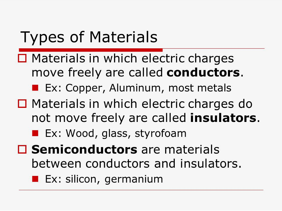 Types of Materials Materials in which electric charges move freely are called conductors. Ex: Copper, Aluminum, most metals.