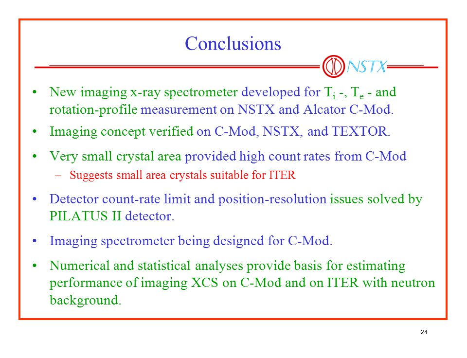 Conclusions New imaging x-ray spectrometer developed for Ti -, Te - and rotation-profile measurement on NSTX and Alcator C-Mod.