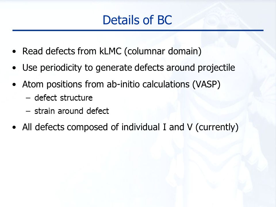 Details of BC Read defects from kLMC (columnar domain)