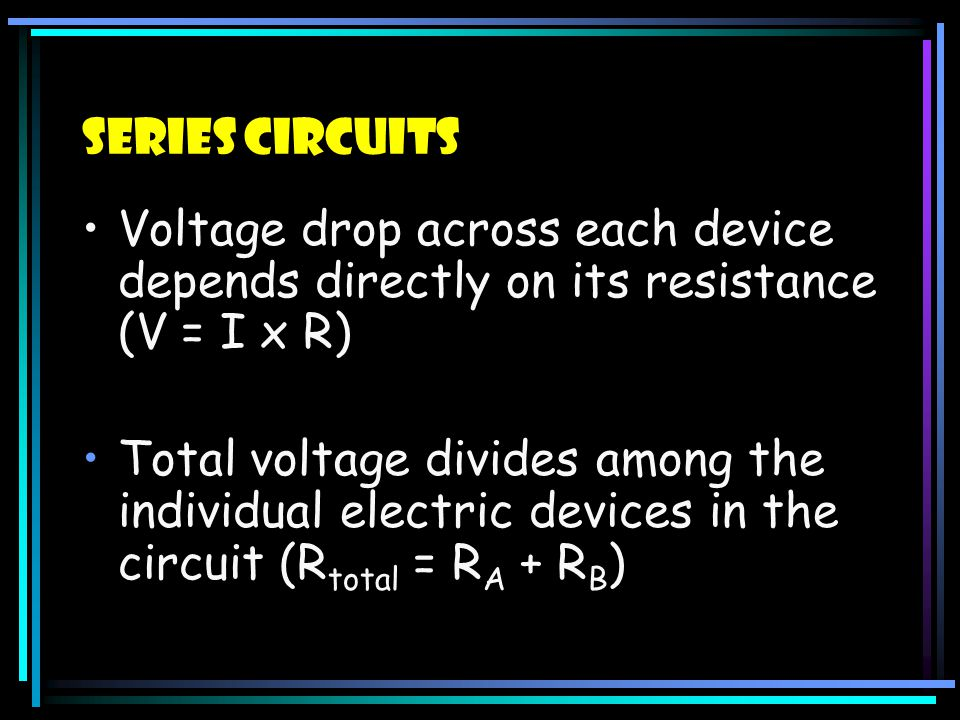 Series Circuits Voltage drop across each device depends directly on its resistance (V = I x R)