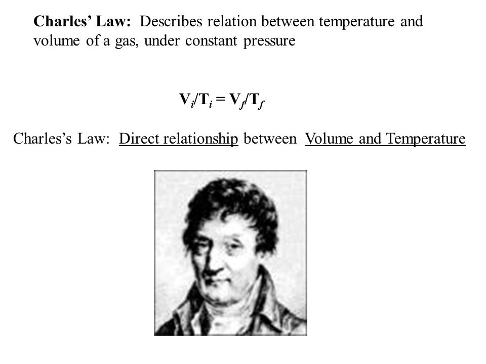 Charles' Law: Describes relation between temperature and volume of a gas, under constant pressure