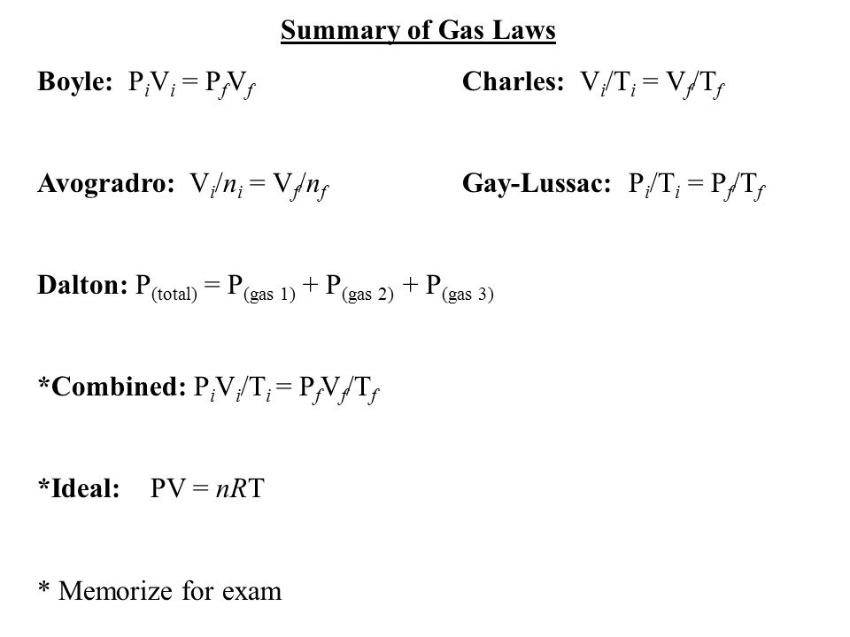 Summary of Gas Laws Boyle: PiVi = PfVf Charles: Vi/Ti = Vf/Tf. Avogradro: Vi/ni = Vf/nf Gay-Lussac: Pi/Ti = Pf/Tf.