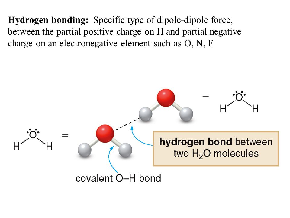 Hydrogen bonding: Specific type of dipole-dipole force, between the partial positive charge on H and partial negative charge on an electronegative element such as O, N, F