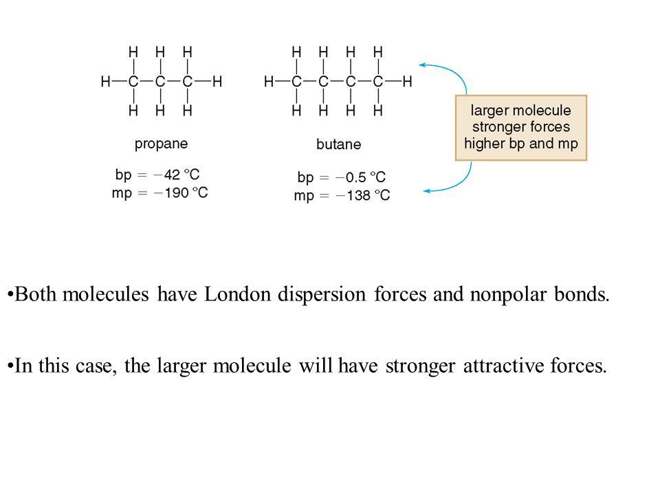 Both molecules have London dispersion forces and nonpolar bonds.