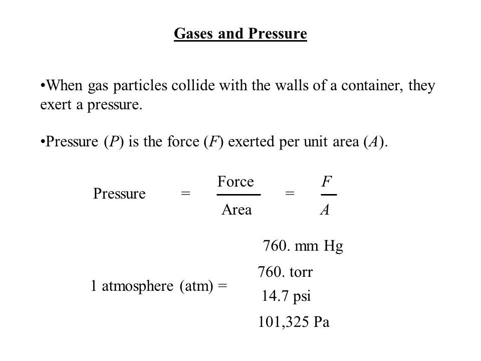 Pressure (P) is the force (F) exerted per unit area (A).