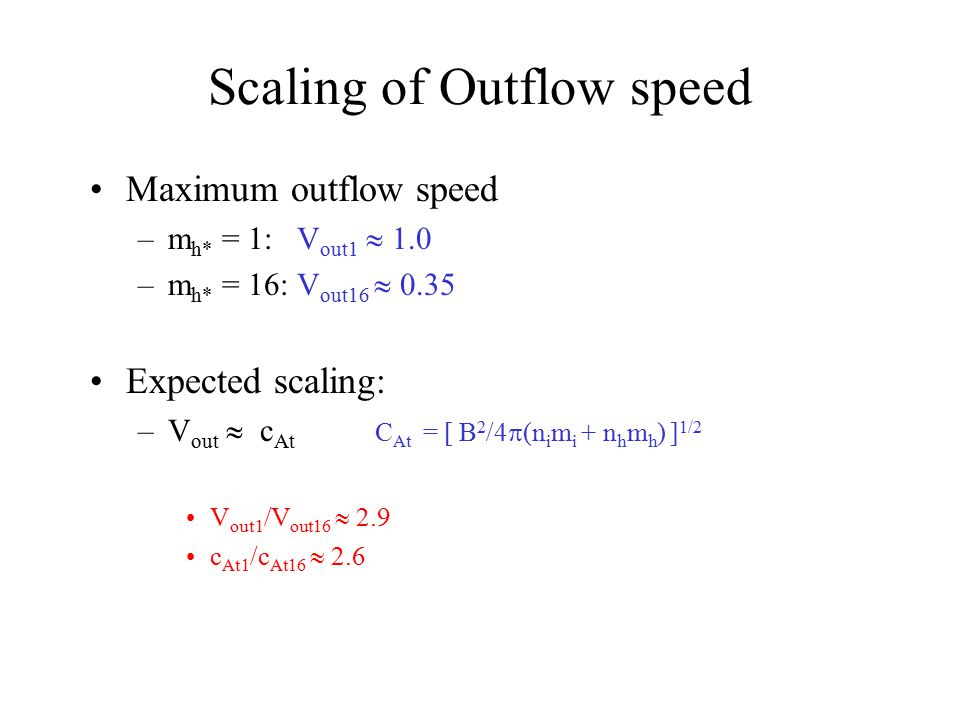 Scaling of Outflow speed