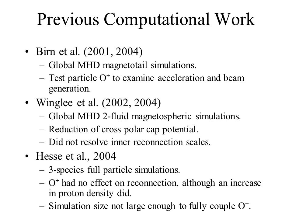 Previous Computational Work