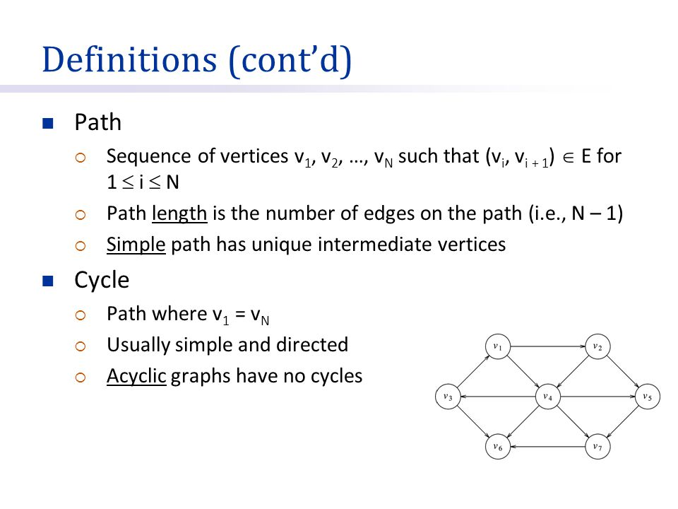 Definitions (cont'd) Path Cycle