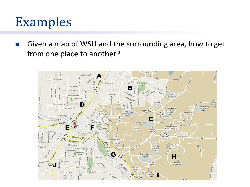 Examples Given a map of WSU and the surrounding area, how to get from one place to another A. B.