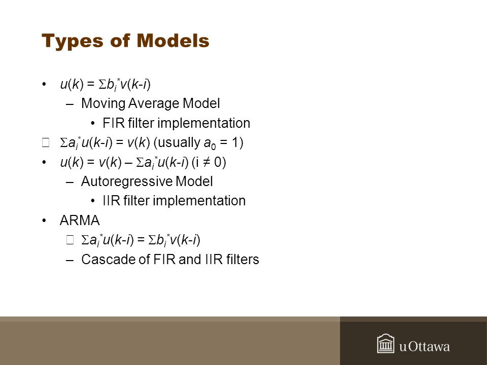 Types of Models u(k) = Sbi*v(k-i) Moving Average Model