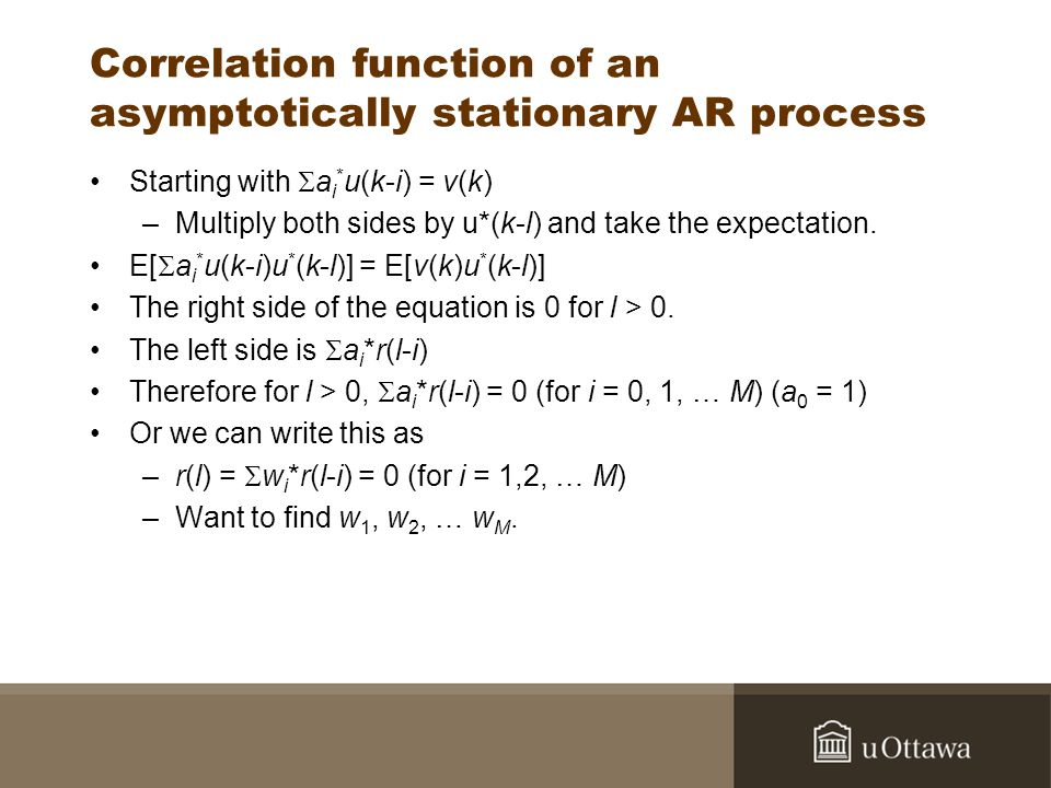 Correlation function of an asymptotically stationary AR process