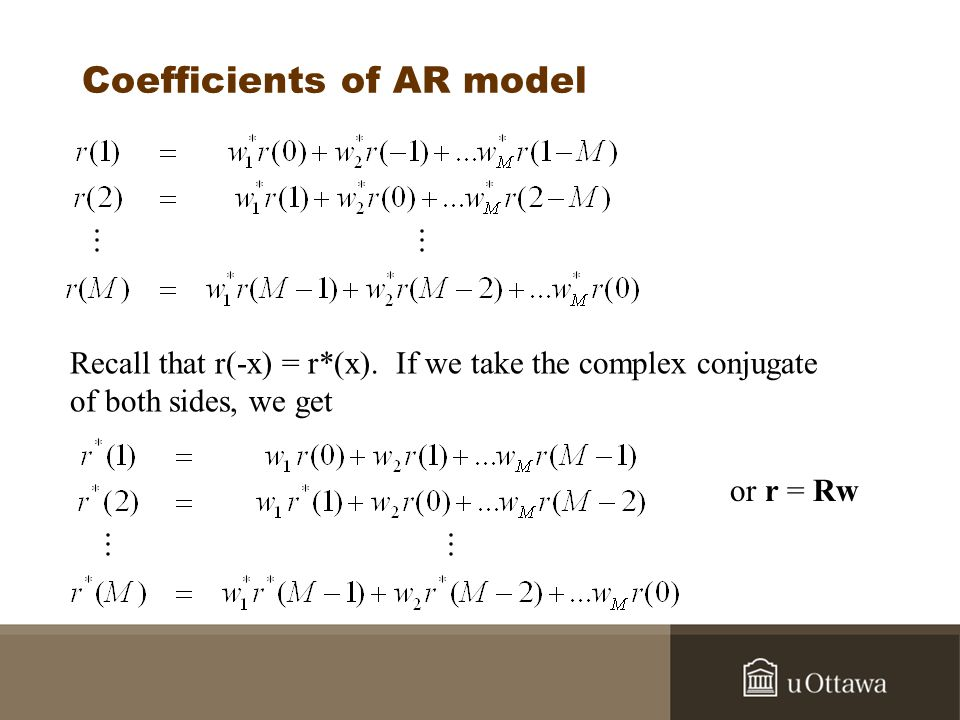 Coefficients of AR model