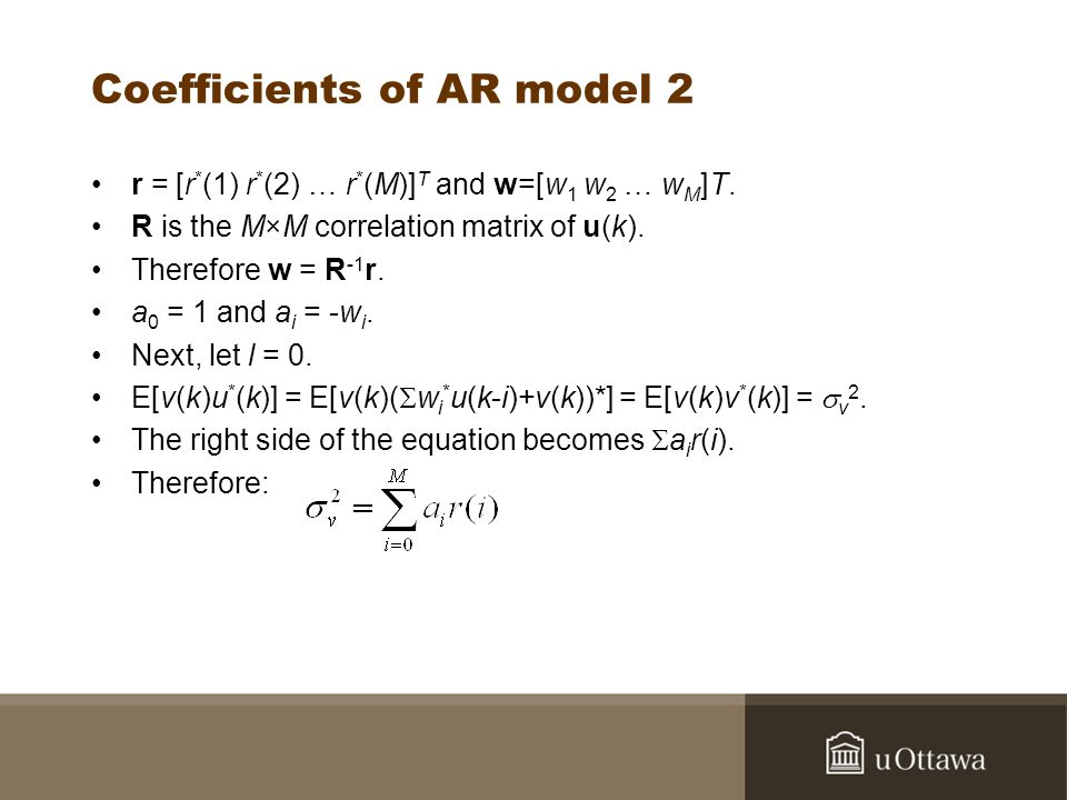 Coefficients of AR model 2