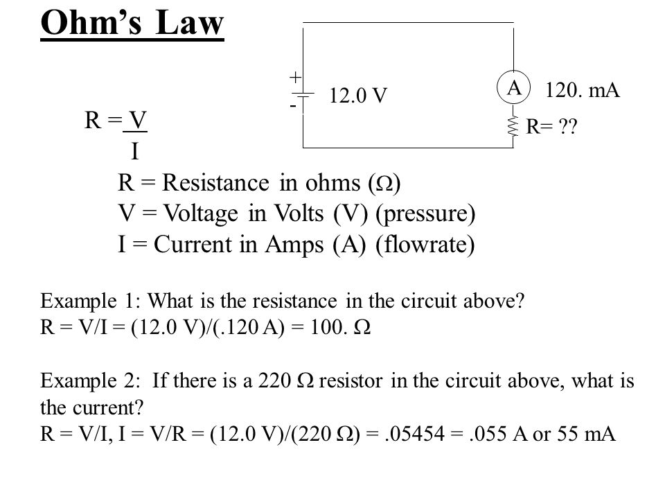 Ohm's Law R = V I R = Resistance in ohms ()