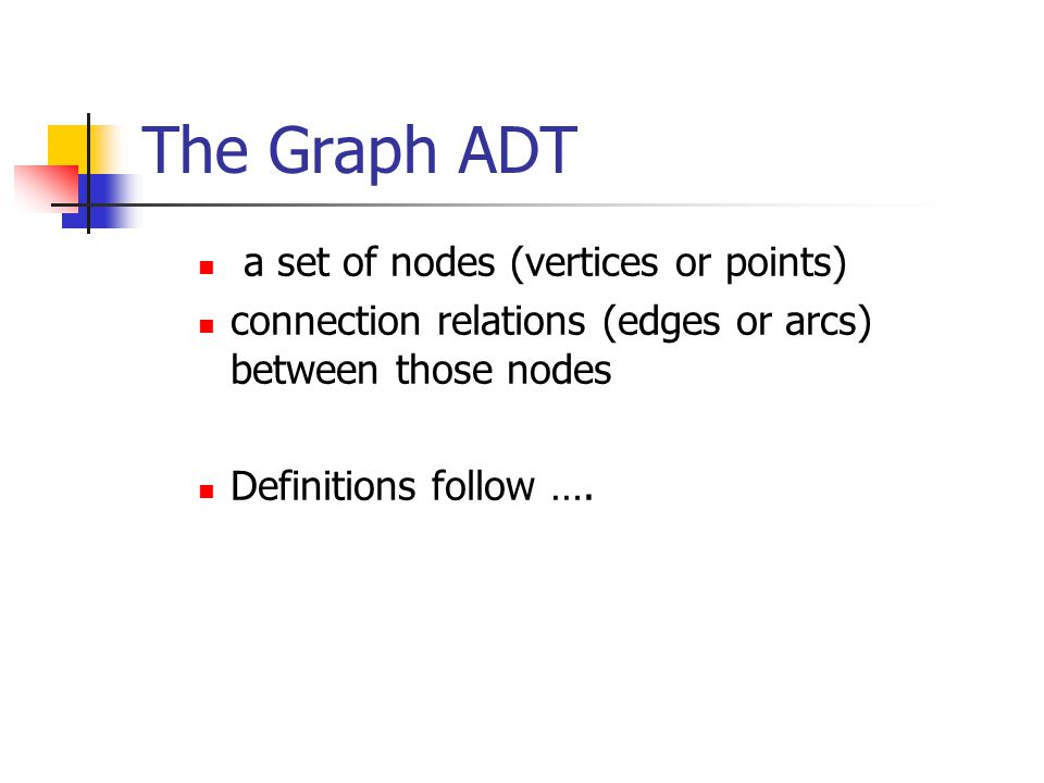 The Graph ADT a set of nodes (vertices or points)