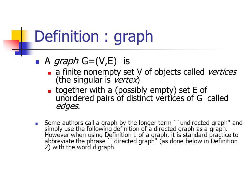Definition : graph A graph G=(V,E) is