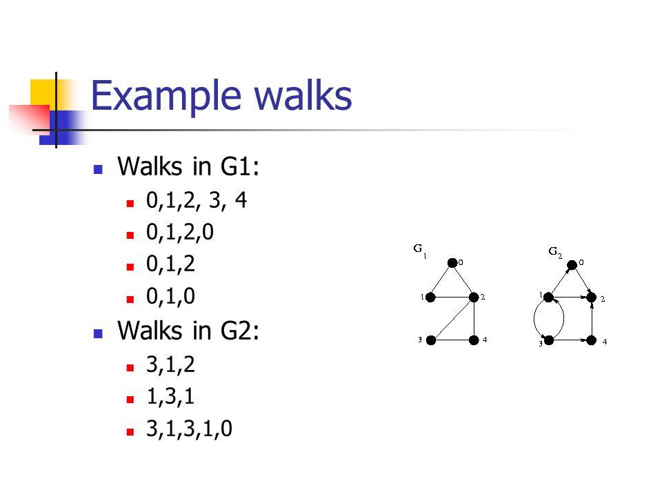 Example walks Walks in G1: Walks in G2: 0,1,2, 3, 4 0,1,2,0 0,1,2