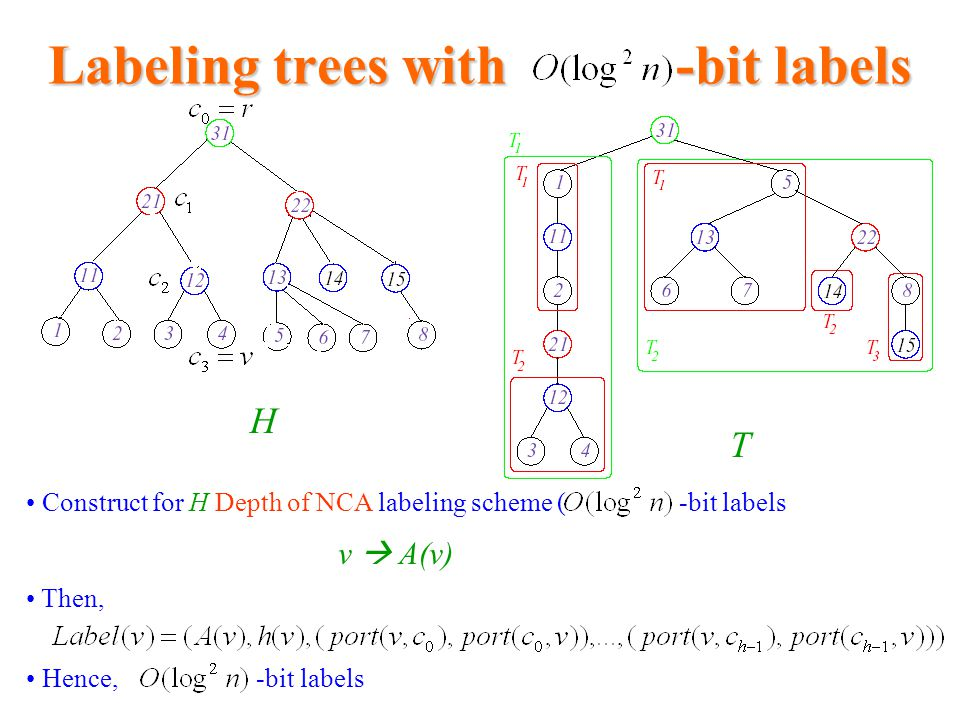 Labeling trees with -bit labels