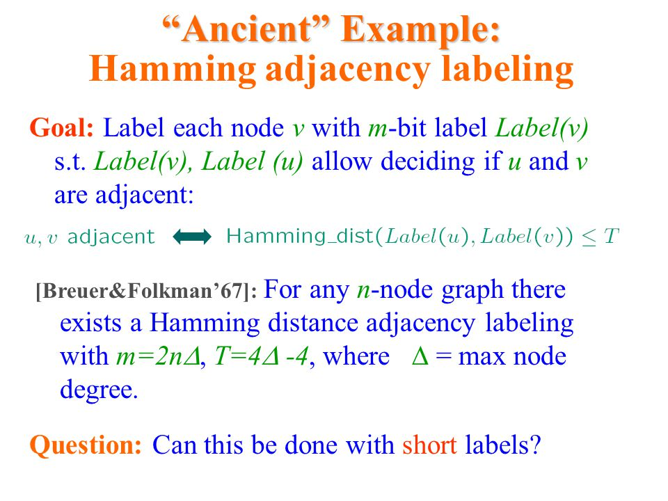 Ancient Example: Hamming adjacency labeling