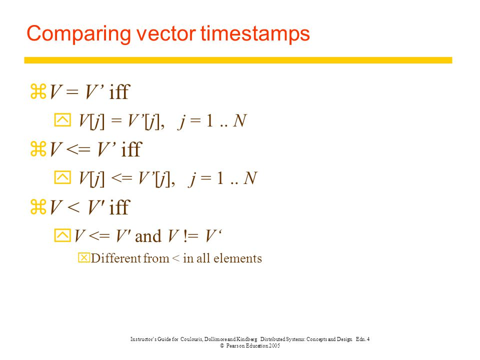 Comparing vector timestamps