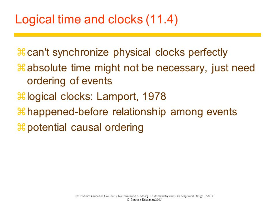 Logical time and clocks (11.4)