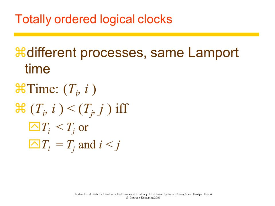 Totally ordered logical clocks