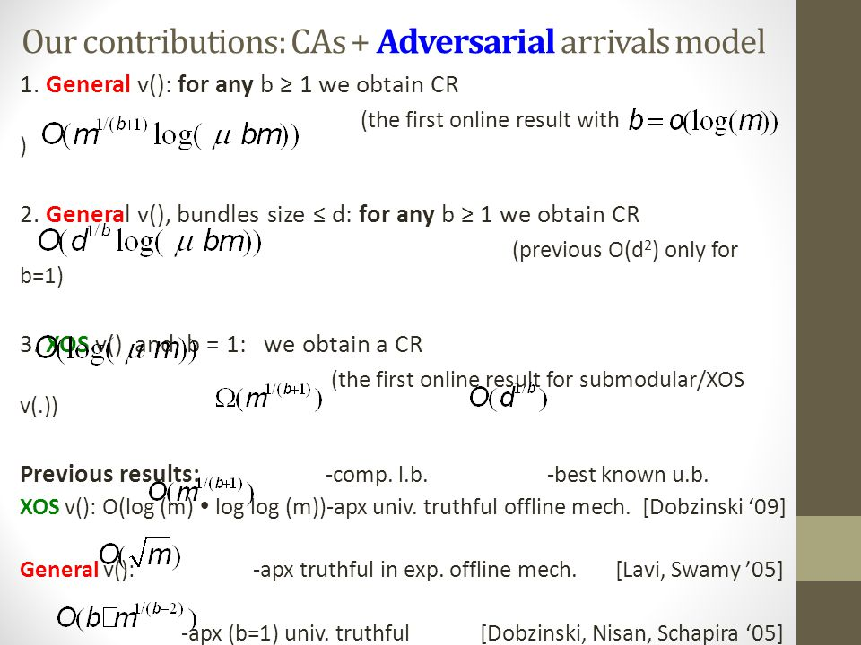 Our contributions: CAs + Adversarial arrivals model