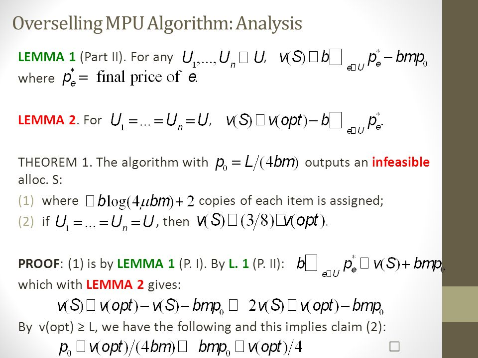 Overselling MPU Algorithm: Analysis