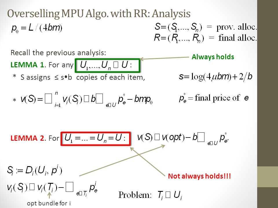 Overselling MPU Algo. with RR: Analysis