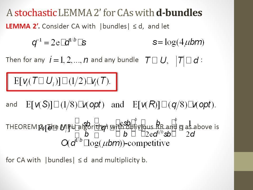 A stochastic LEMMA 2' for CAs with d-bundles