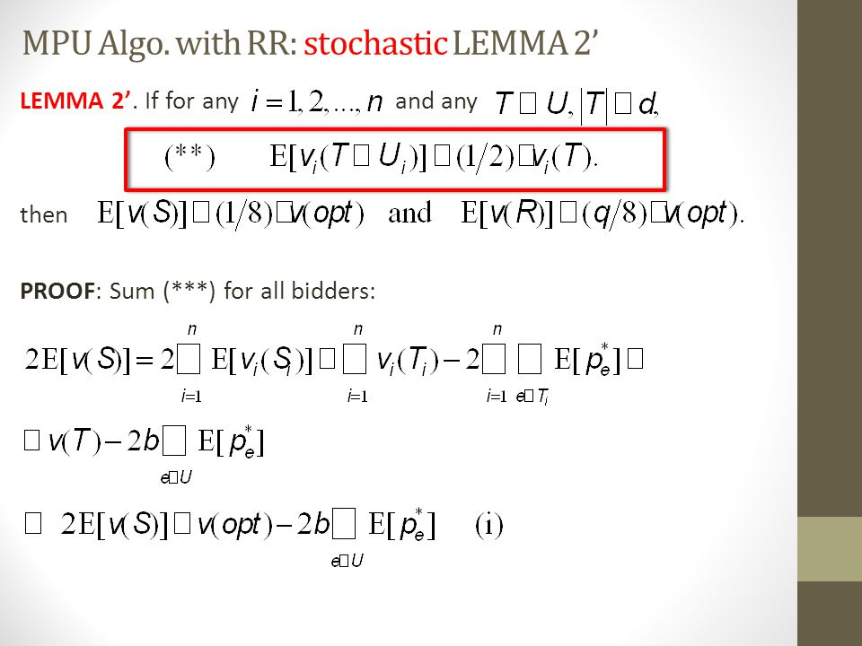 MPU Algo. with RR: stochastic LEMMA 2'