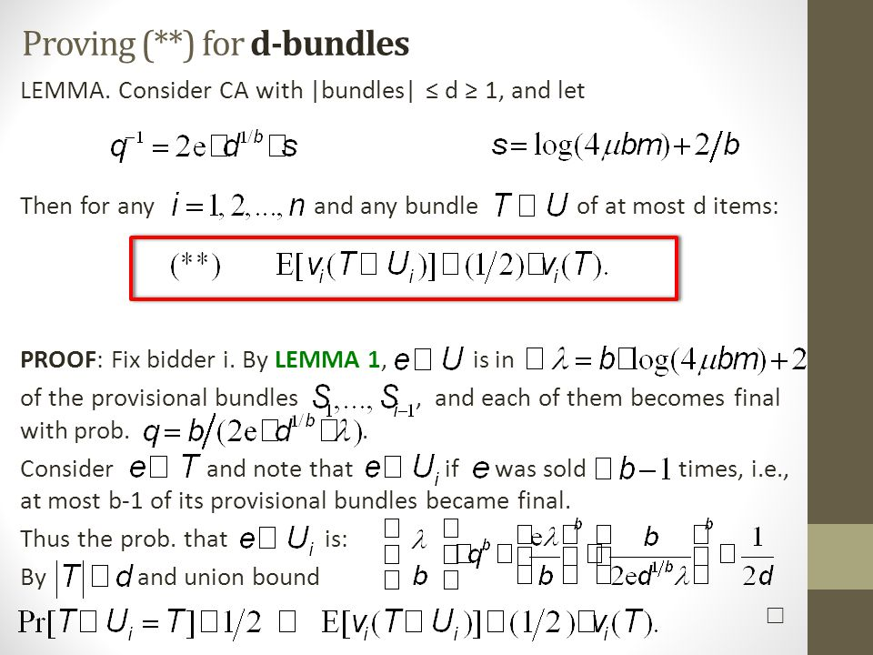 Proving (**) for d-bundles