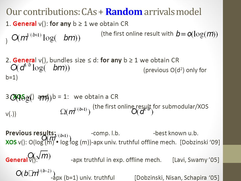 Our contributions: CAs + Random arrivals model