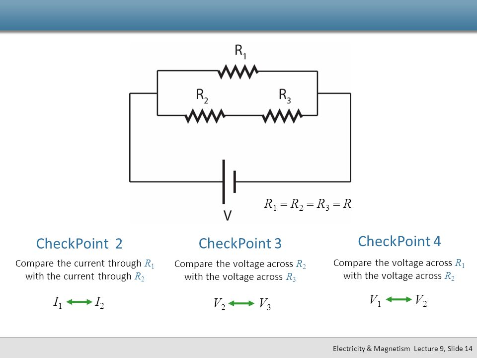 CheckPoint 2 CheckPoint 3 CheckPoint 4 R1 = R2 = R3 = R V1 V2 I1 I2
