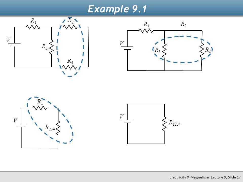 Example 9.1 R1 R2 R1 R2 V V R3 R3 R24 R4 R1 V V R1234 R234