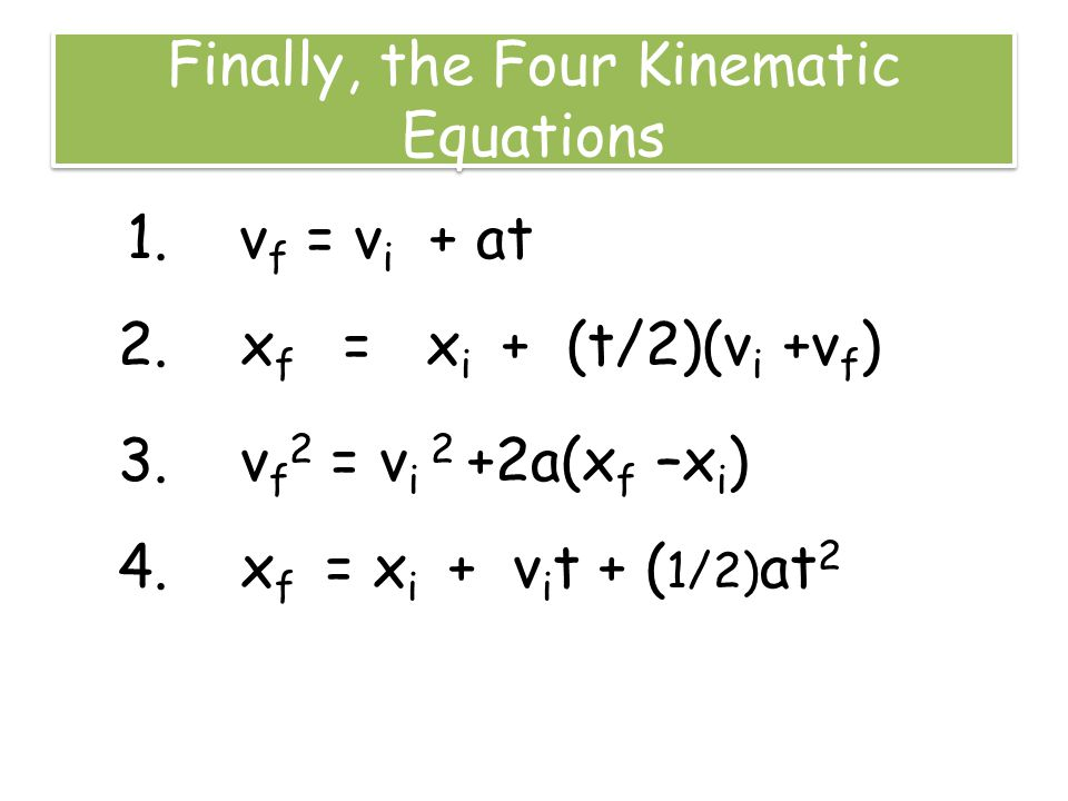 Finally, the Four Kinematic Equations