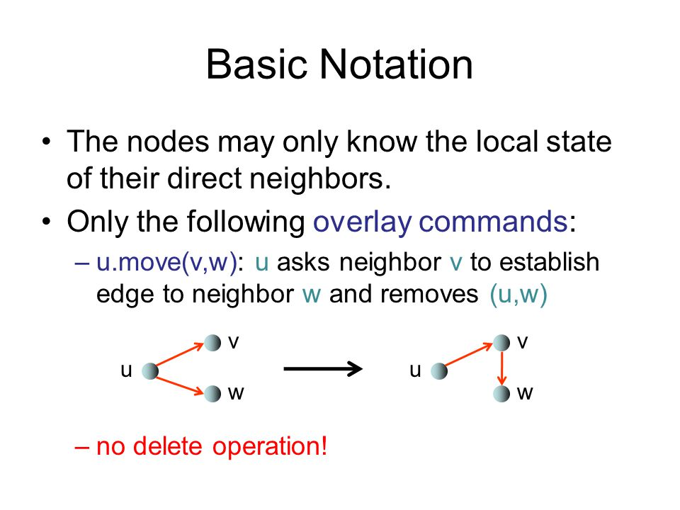 Basic Notation The nodes may only know the local state of their direct neighbors. Only the following overlay commands: