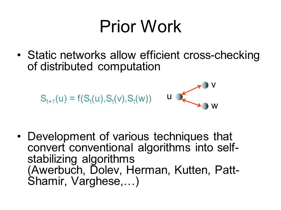 Prior Work Static networks allow efficient cross-checking of distributed computation.