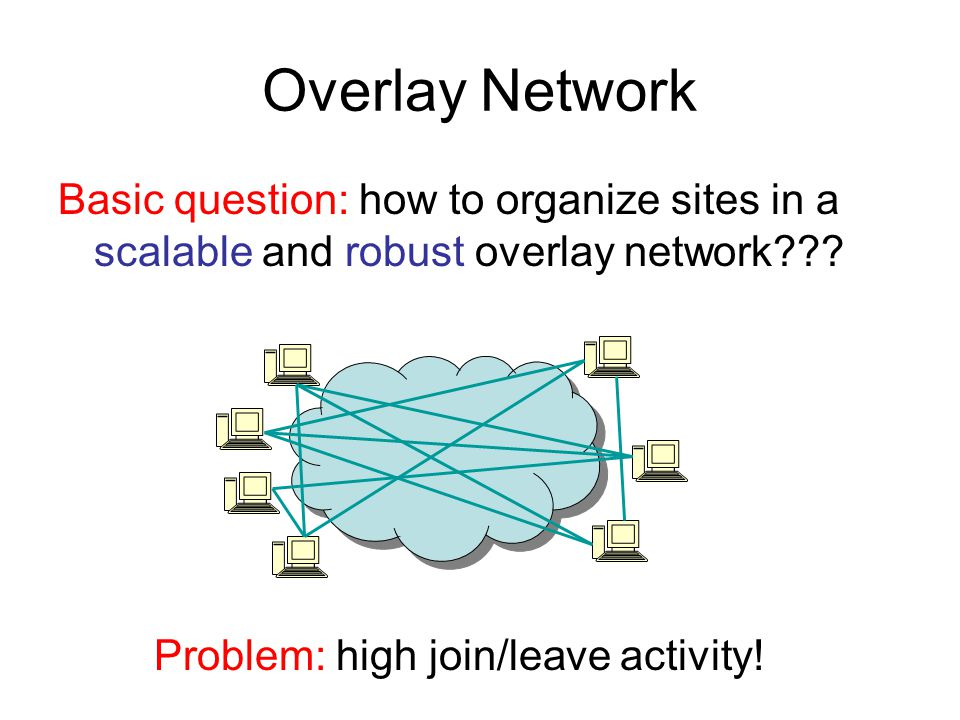Overlay Network Basic question: how to organize sites in a scalable and robust overlay network .