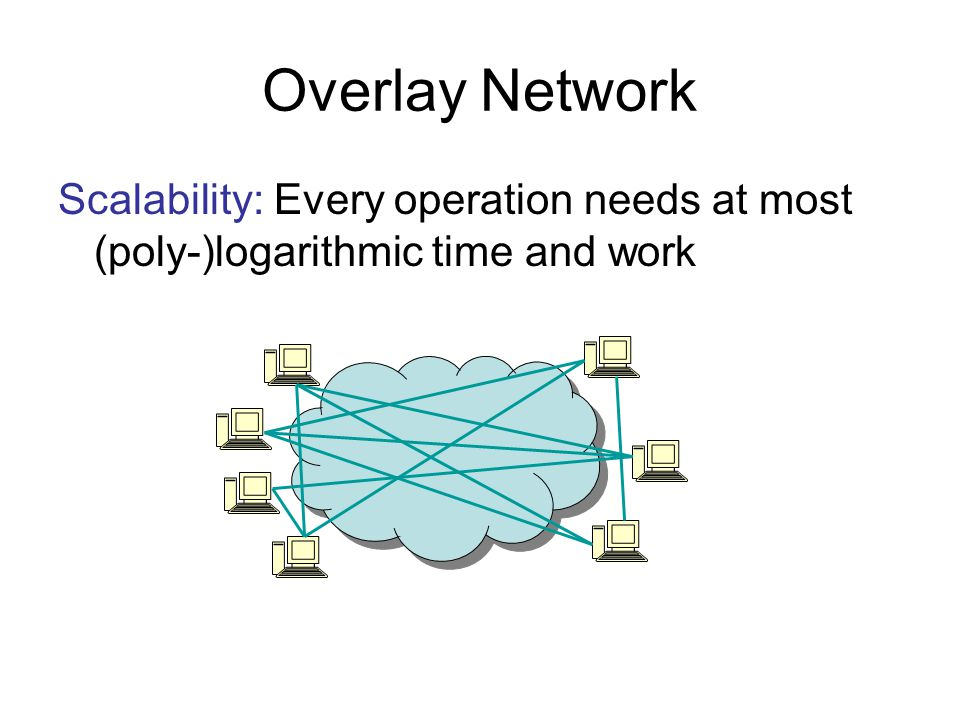 Overlay Network Scalability: Every operation needs at most (poly-)logarithmic time and work
