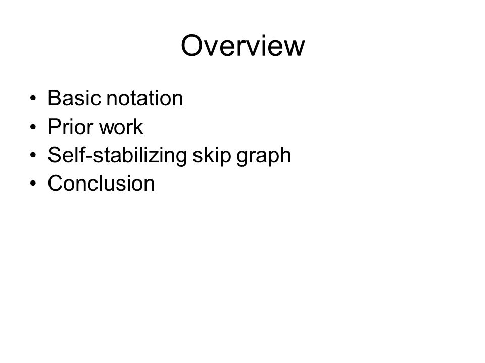 Overview Basic notation Prior work Self-stabilizing skip graph