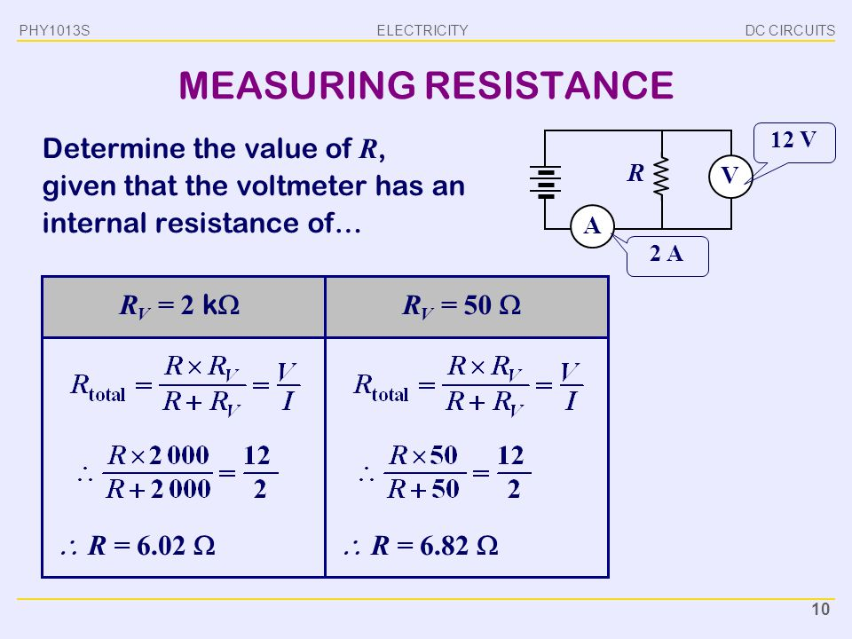 MEASURING RESISTANCE Determine the value of R,