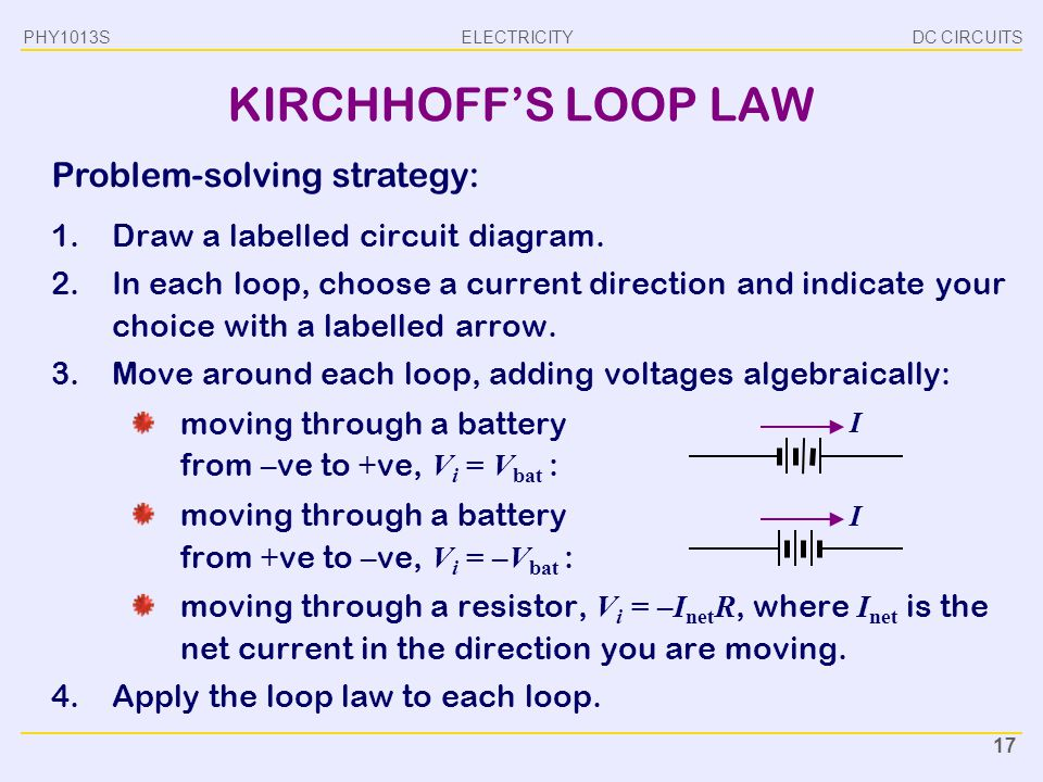 KIRCHHOFF'S LOOP LAW Problem-solving strategy: