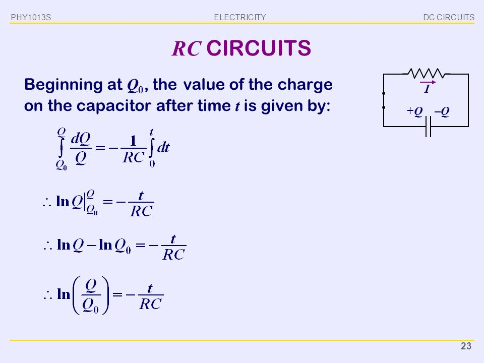 PHY1013S DC CIRCUITS. RC CIRCUITS. Beginning at Q0, the value of the charge on the capacitor after time t is given by: